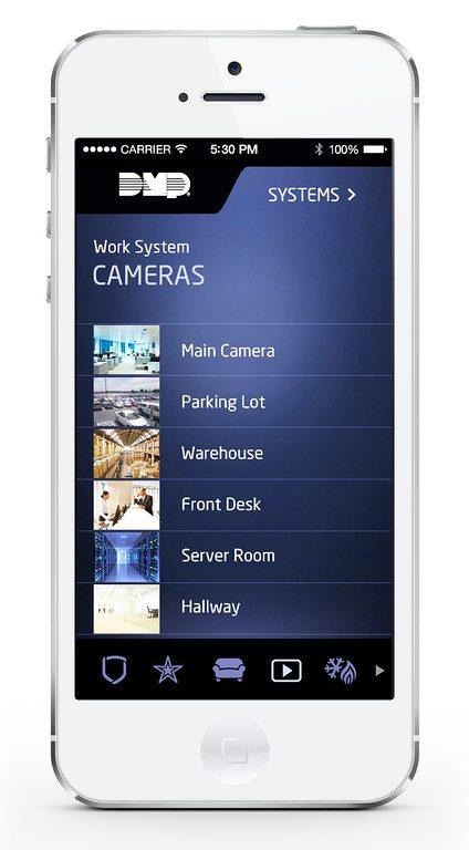DMP Virtual Keypad App-Cameras Main Menu